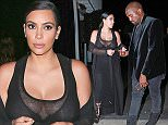 UK CLIENTS MUST CREDIT: AKM-GSI ONLY EXCLUSIVE: Santa Monica, CA - Part 2 - 'KUWTK', Kim Kardashian, was seen enjoying one of the few perks of being pregnant when she displayed her ample cleavage in a sheer dress.  She was seen grabbing dinner with her husband, Kanye West, and Pussycat founder, Robin Antin (not pictured), at Giorgio Baldi.  Kim continues her mission to have another sexy pregnancy in a nearly fully see-through dress that left little to the imagination. Kanye West went for a low-key fashion night in a crushed velvet jacket, black tee, black faded jeans, and black boots.  Pictured: Kim Kardashian and Kanye West Ref: SPL1079434  140715   EXCLUSIVE Picture by: AKM-GSI / Splash News
