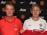 SEATTLE, WA - JULY 15:  Manager Louis van Gaal of Manchester United poses with his new signings ahead of a press conference to unveil Bastian Schweinsteiger, Morgan Schneiderlin and Matteo Darmian  as the club's new signings on July 15, 2015 in Seattle, Washington.  (Photo by John Peters/Man Utd via Getty Images)