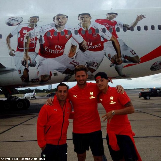 Mesut Ozil tweeted a picture of him alongside Santi Cazorla and Olivier Giroud as the Gunners flew out to Asia
