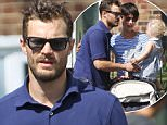 """11.JULY.2015 - LONDON - UK *** EXCLUSIVE ALL ROUND PICTURES AVAILABLE FOR UK NEWSPAPERS ONLY *** """"FIFTY SHADES OF GREY"""" ACTOR JAMIE DORNAN SEEN MEETING UP WITH HIS WIFE AMELIA WARNER AND THEIR DAUGHTER IN WEST LONDON. JAMIES DAUGHTER DULCIE WAS EXCITED TO SEE HIM. BYLINE MUST READ : XPOSUREPHOTOS.COM ***UK CLIENTS - PICTURES CONTAINING CHILDREN PLEASE PIXELATE FACE PRIOR TO PUBLICATION *** **UK CLIENTS MUST CALL PRIOR TO TV OR ONLINE USAGE PLEASE TELEPHONE 0208 344 2007**"""