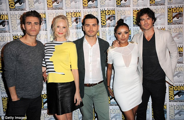Missing one: Show star Nina Dobrev was absent from the panel as her character won't be featured in season seven. Paul Wesley, Candice Accola, Michael Malarkey, Kat Graham and Ian Somerhalder seen here