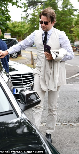 The actor was stylish in a white suit