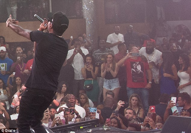 Meek middle: The two basketballers hit the club atop the Cromwell to see Meek Mill perform, but stayed on opposite sides of the stage
