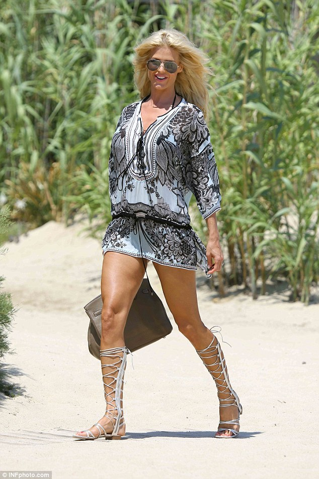 Summer's here: Victoria Silvstedt continued her European jaunt with a stop in Saint Tropez over the weekend