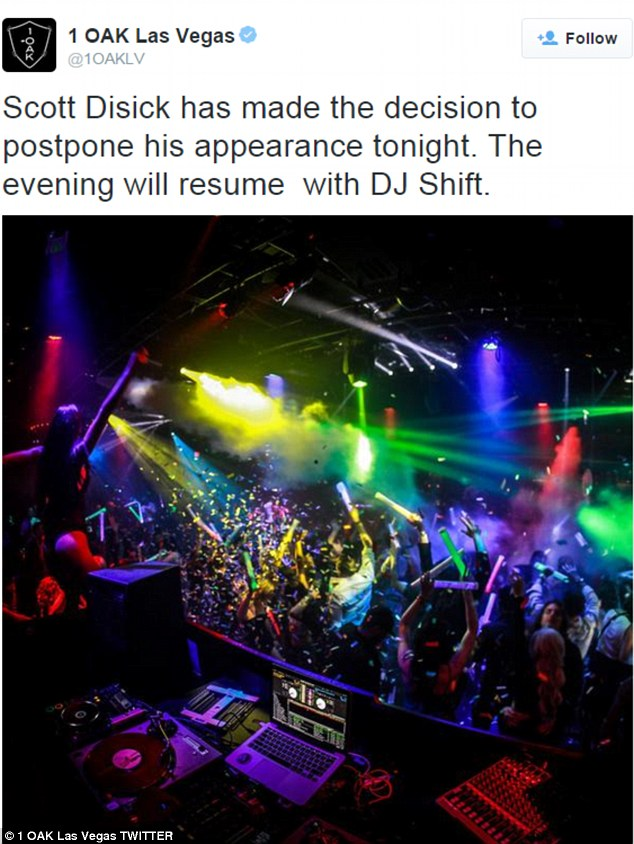 Cancelled: Scott was scheduled to appear at 1Oak nightclub in Las Vegas on Friday, but pulled out a day before
