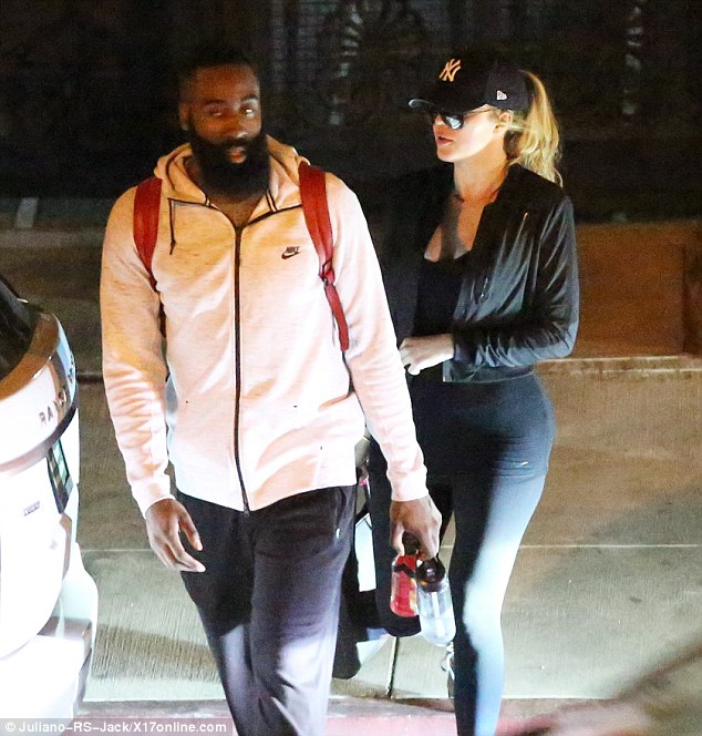Getting closer: The 31-year-old reality diva has been dating basketball star Jamesd Harden; here they are seen in Beverly Hills on Wednesday