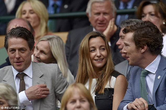 The British actor and the Swedish TV producer were among the famous faces who attended the Men's Final which saw Roger Federer take on Novak Djokovic at the All England Lawn Tennis and Croquet Club