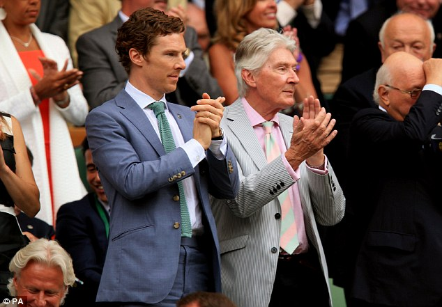 Cumberbatch Snr wins: Posing with a pair of sunglasses dangling from his pocket, the actor was joined by his father Timothy, who also made a sartorial effort