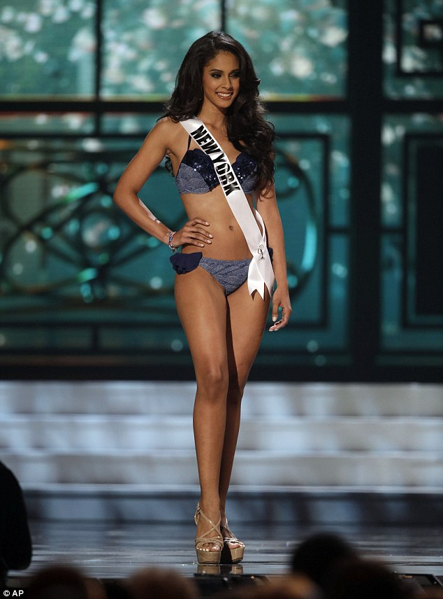 Miss New York, Thatiana Diaz, competes in the bathing suit competition during the preliminary round of the 2015 Miss USA Pageant