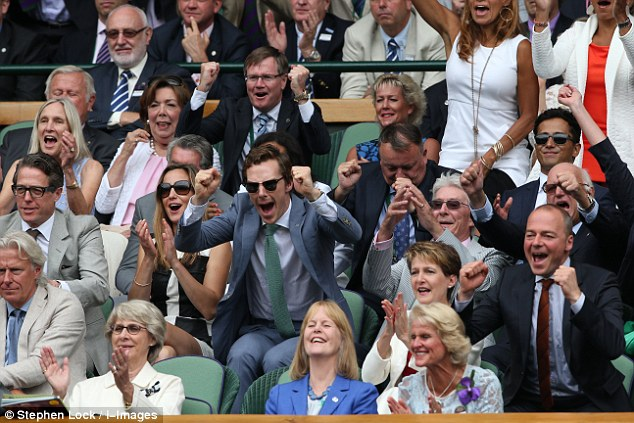 Come on! The stars react after another nail biting victory between the two with the first two sets of the match won on tie breaks