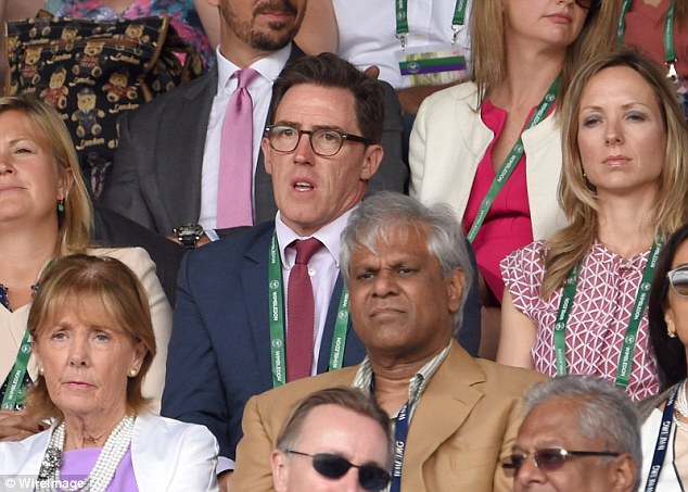 Nerves: Rob Brydon wears a pained expression as he watches the third set of the Wimbledon final between Djokovic and Federer