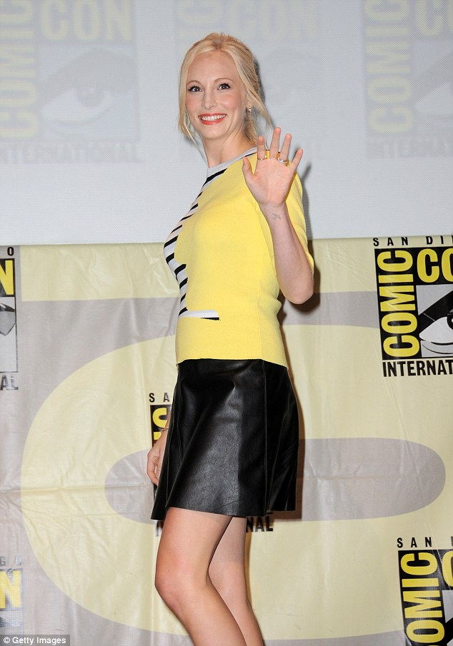 Caroline Forbes: Actress Candice Accola (Caroline Forbes) went for a bumblebee look with a black leather skirt and a yellow blouse