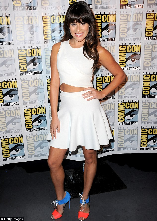 Sizzling: Lea Michele rocked a little white dress on Sunday while appearing at a Fox panel at San Diego Comic-Con