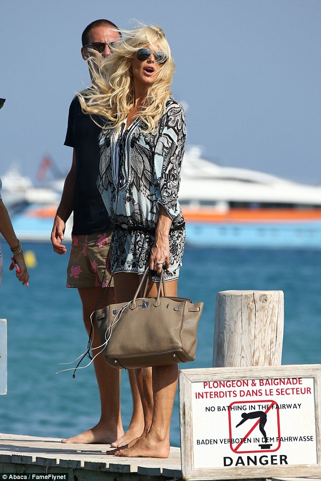 Bite to eat: Victoria headed to Saint Tropez hot spot Club 55 for a lunch with her pals