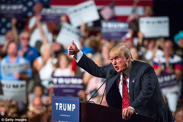 On the attack: Donald Trump (speaking above in Phoenix on Saturday) is claiming the escape of drug lord El Chapo proves his attacks on Mexico are true