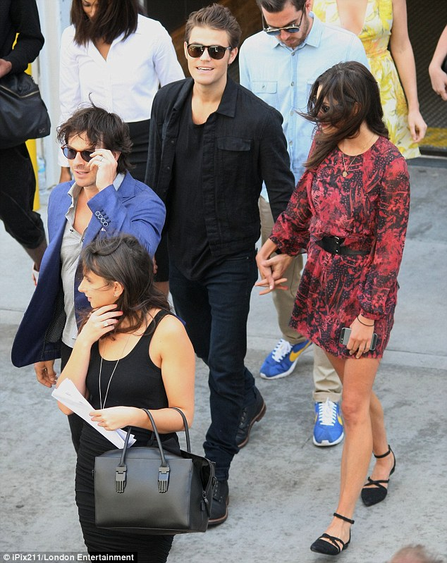 Co-stars: The couple was joined by Ian's Vampire Diaries' co-stars Paul Wesley and Phoebe Tonkin, who are also an item