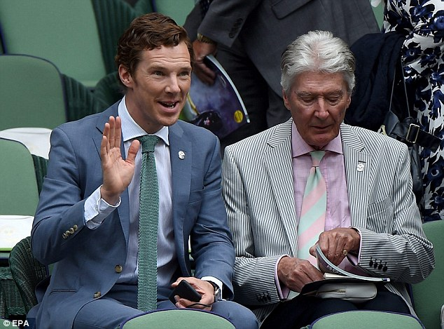Yes, it's me! Benedict waves at a fan across the court in the world-famous tennis club