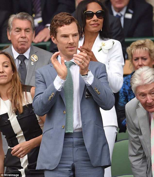 Standing ovation: Benedict takes to his feet to applause an impressive serve from Federer