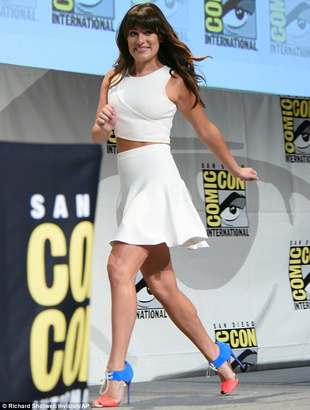 Lean legs: Lea showed her lean legs in a short white skirt
