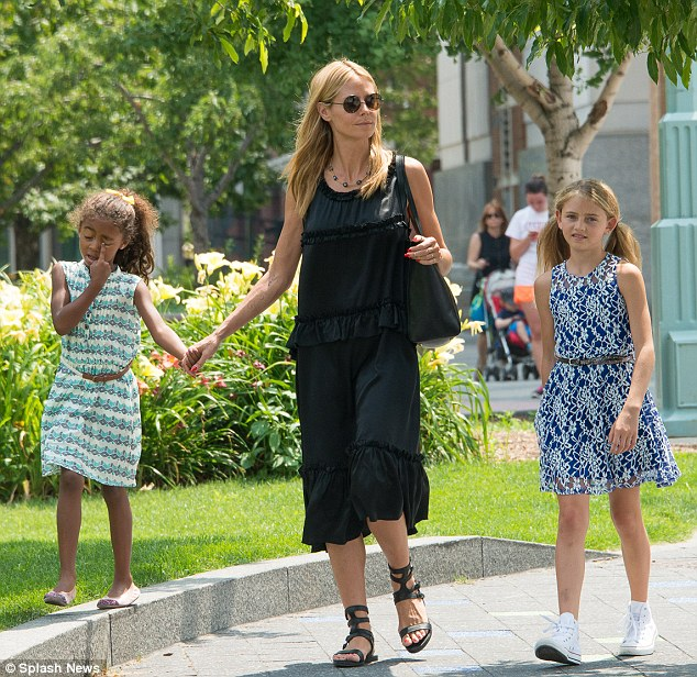 Getting some fresh air: Heidi Klum took her four children (Lou (L) and Leni (R) pictured) to park in New York on Sunday.