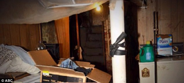 Ariel Castro's dingy basement at his Cleveland home. He bolted doors across windows to prevent the women's escape and then sheared off the bolts