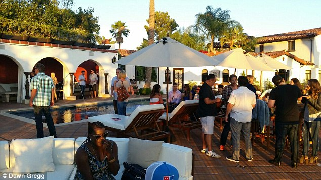 Nice pad: The poolside party rolled from 6pm until well after 1am on Sunday morning