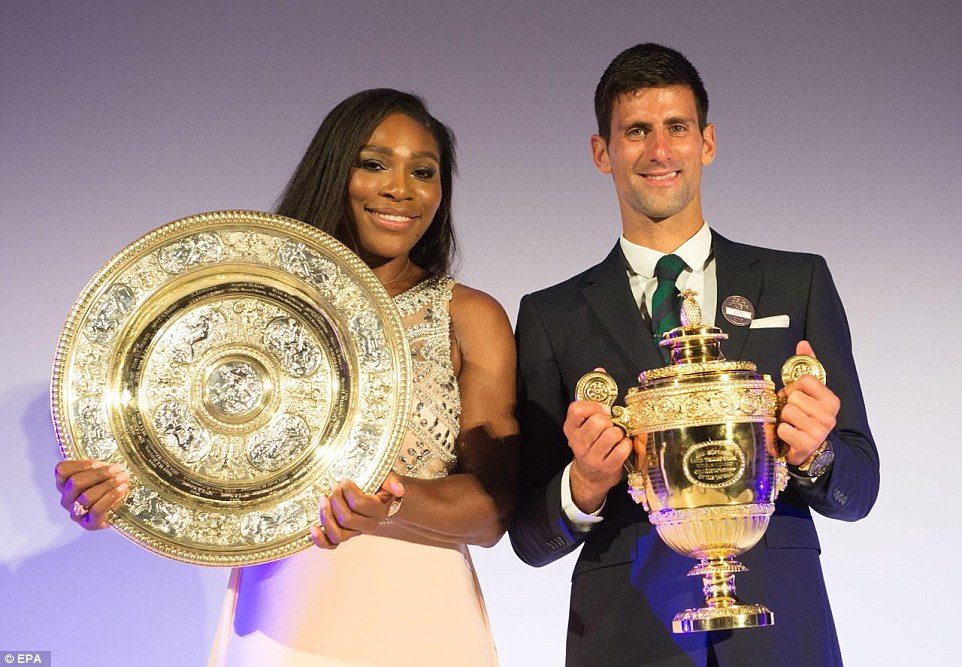 Both champions later posed with their trophies after Djokovic was crowned Men's champion for the third time after beating Roger Federer while Williams was fresh off her convincing victory over Garbine Muguruza