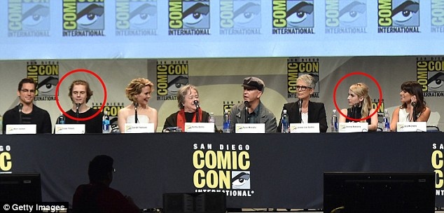 Reunited: Evan Peters (left circle) and Emma Roberts (right circle) were seen at the American Horror Story and Scream Queens panel during Comic-Con International 2015 in San Diego, California on Sunday