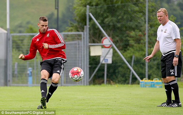 United are also closing in on a deal for Morgan Schneiderlin (left), pictured in training with Southampton