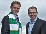14 July 2015; Former Republic of Ireland International Damien Duff was today unveiled as Shamrock Rovers' newest signing with manager Pat Fenlon. St. Stephen's Green, Dublin. Picture credit: David Maher / SPORTSFILE