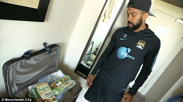 Clichy is also to maintain a healthy diet and shows the camera his array of gluten free snacks for the tour