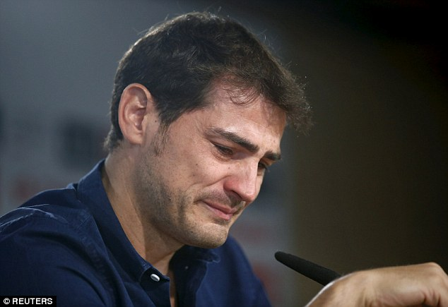 A tearful Casillas struggled to read a statement during his first press conference on Sunday morning