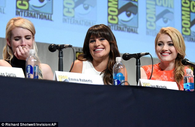 Laughing or crying? Emma was hard to read as she joined her Scream Queens co-stars Lea Michele, middle, and Skyler Samuels, right