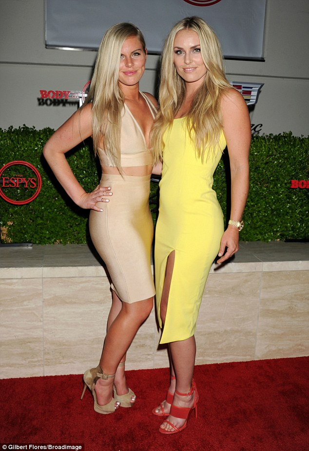 Sister, sister:The stunning athlete was seen with her equally beautiful sister, Karin Kildow, who wore a figure-hugging bandage skirt and top at the ESPYS pre-party on Tuesday night