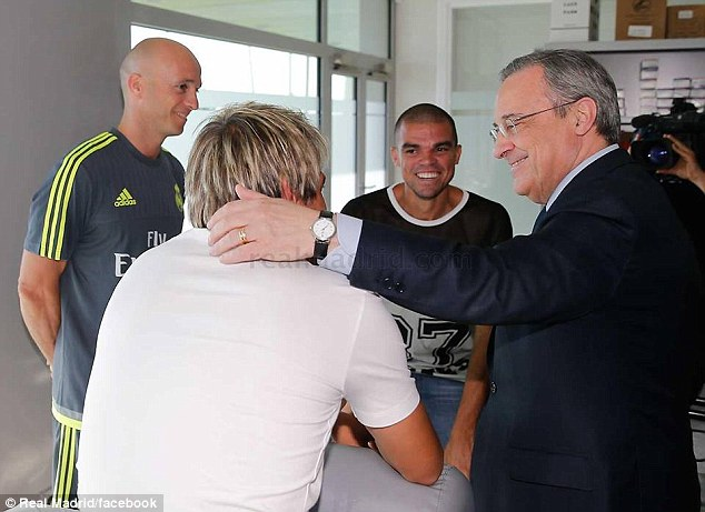 Perez jokes with Coentrao as Pepe looks on amused as the capital club gears up for the new season