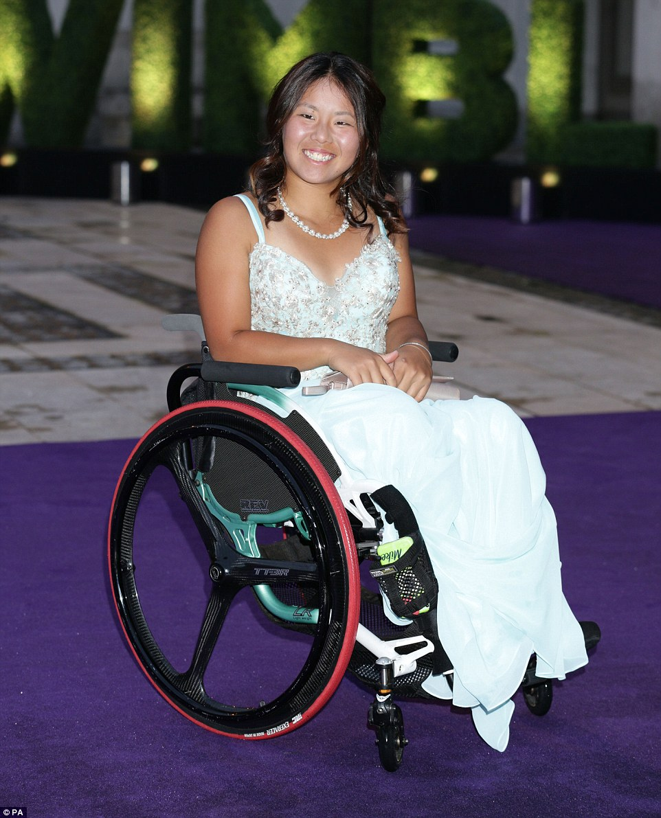 Yui Kamiji, who had successfully defended her Wimbledon title with playing partner Jordanne Whiley in the wheelchair doubles final arrived at the Champions' Dinner at the Guidlhall