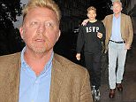 14.JULY.2015 - LONDON - UK FORMER WORLD NO. 1 PROFESSIONAL TENNIS PLAYER BORIS BECKER IS SEEN WALKING PAST NOBU RESTAURANT IN LONDON WITH HIS SON BYLINE MUST READ : EBELE / XPOSUREPHOTOS.COM ***UK CLIENTS - PICTURES CONTAINING CHILDREN PLEASE PIXELATE FACE PRIOR TO PUBLICATION *** **UK CLIENTS MUST CALL PRIOR TO TV OR ONLINE USAGE PLEASE TELEPHONE 44 208 344 2007**