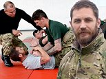 Hollywood actor Tom Hardy(grey) on visited RM Condor, Abroath, East Angus, to join in some of the training with 45 Commando Group conduct. See Centre Press story CPHARD