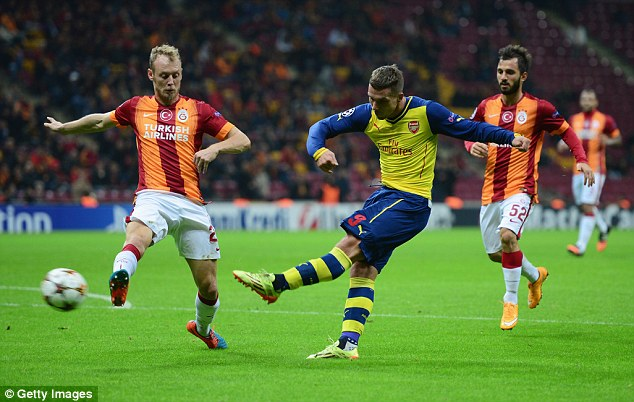 Podolski scored against Galatasaray for Arsenal during the Champions League group stage in 2014