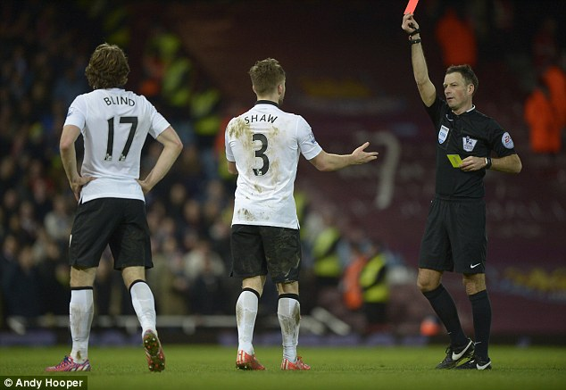 The 20-year-old was shown a red card during the Red Devils' away fixture at West Ham in February