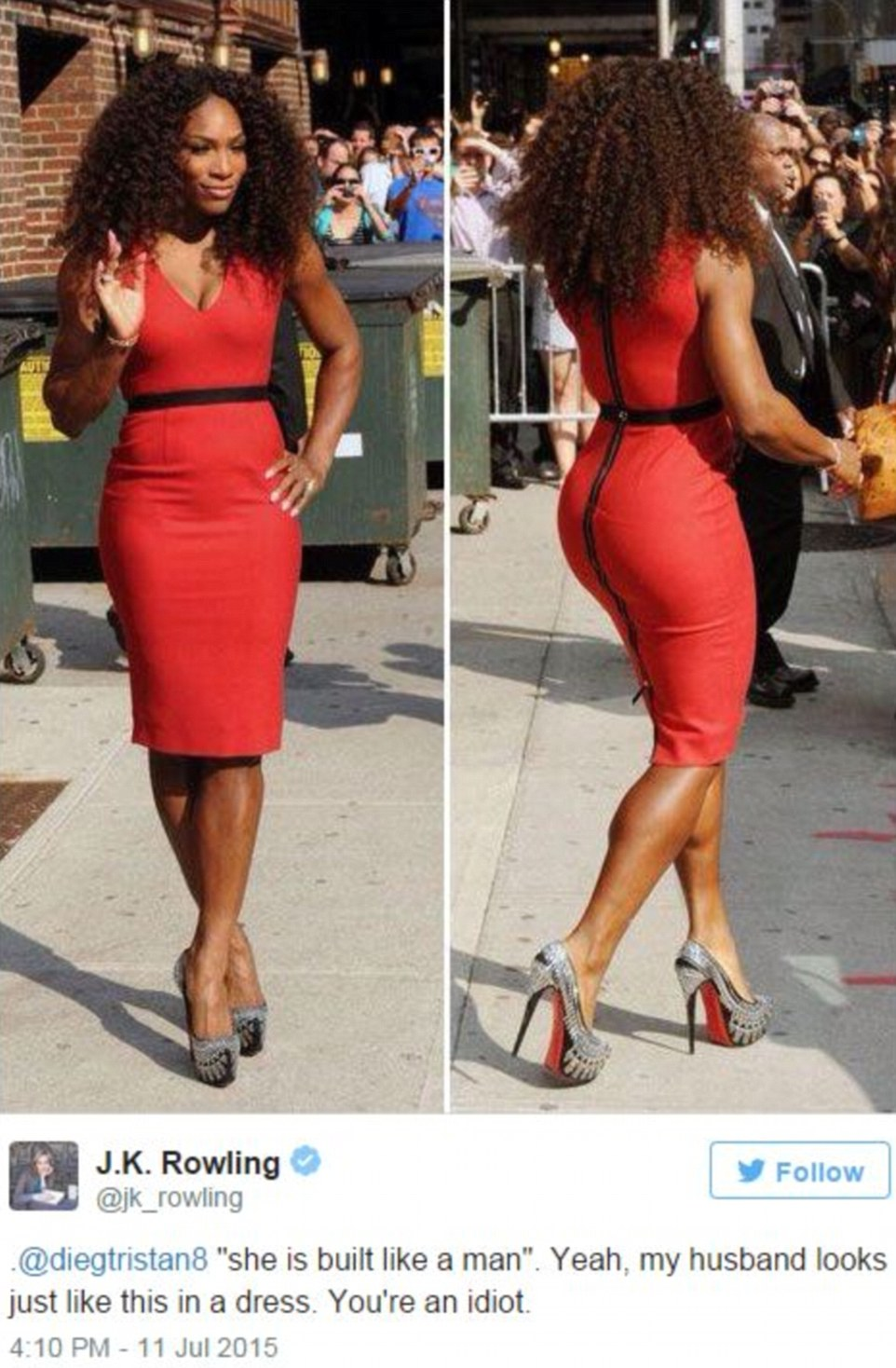 """'""""she is built like a man"""". Yeah, my husband looks just like this in a dress. You're an idiot.' The author reacted to the body-shaming comment by proving her point with an image of Serena looking sensational"""