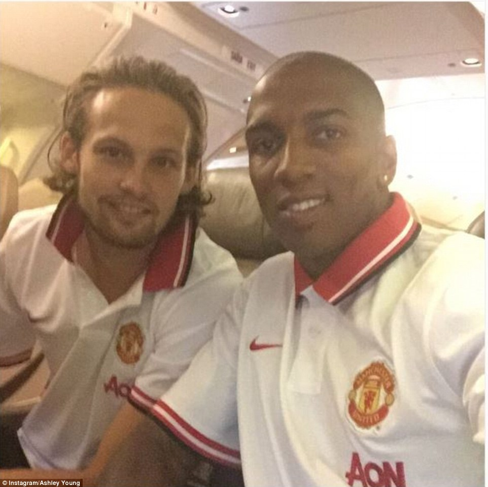 Ashley Young (right) posted a selfie on his official Instagram account of himself and fellow midfielder Daley Blind (left)