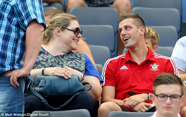 Schneiderlin talking to Southampton owner Katharina Liebherr as they played Valencia in the Audi Quattro Cup
