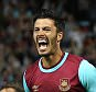 James Tomkins of West Ham United celebrates scoring the winning  goal