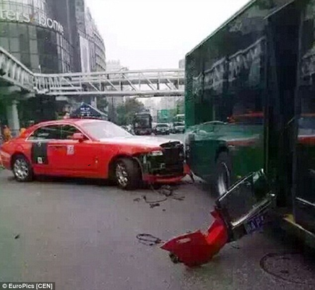 Pop star Psy was travelling in a red Rolls Royce at the time of the accident. It's not known if he was driving