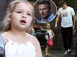 Harper Beckham wearing pink patent leather shoes at Fogo de Chao with dad David Beckham, Brooklyn, Cruz and Romeo for an early dinner July 15, 2015 X17online.com\nNO  WEB SITE USAGE\nNO MAGAZINE USAGE\nAny queries call X17 UK Office 0034 966 713 949\nGary 0034 686421720\nLynne 0034 611100011 \nAlasdair 0034 965998830