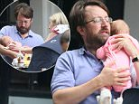 EXCLUSIVE: David Mitchell is spotted out to lunch with wife Victoria Coren and there baby girl, Barbara Elizabeth June Mitchell.  Pictured:  David Mitchell, Victoria Coren Mitchell Ref: SPL1073173  150715   EXCLUSIVE Picture by: James Jenkins / Splash News  Splash News and Pictures Los Angeles: 310-821-2666 New York: 212-619-2666 London: 870-934-2666 photodesk@splashnews.com