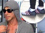 Mickey Rourke goes to Cafe Rome in Beverly Hills in a grey hoodie and patriotic stars and stripes sneakers\nFeaturing: Mickey Rourke\nWhere: Los Angeles, California, United States\nWhen: 16 Jul 2015\nCredit: WENN.com
