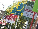 A stock photo of to-let sign boards.    B64P47 To let signs. Image shot 2008. Exact date unknown.