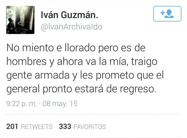 Ivan had earlier posted: 'I won't lie, I have cried but I bring armed men and I promise that soon the General will be back